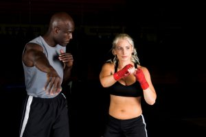 boxing trainer and student