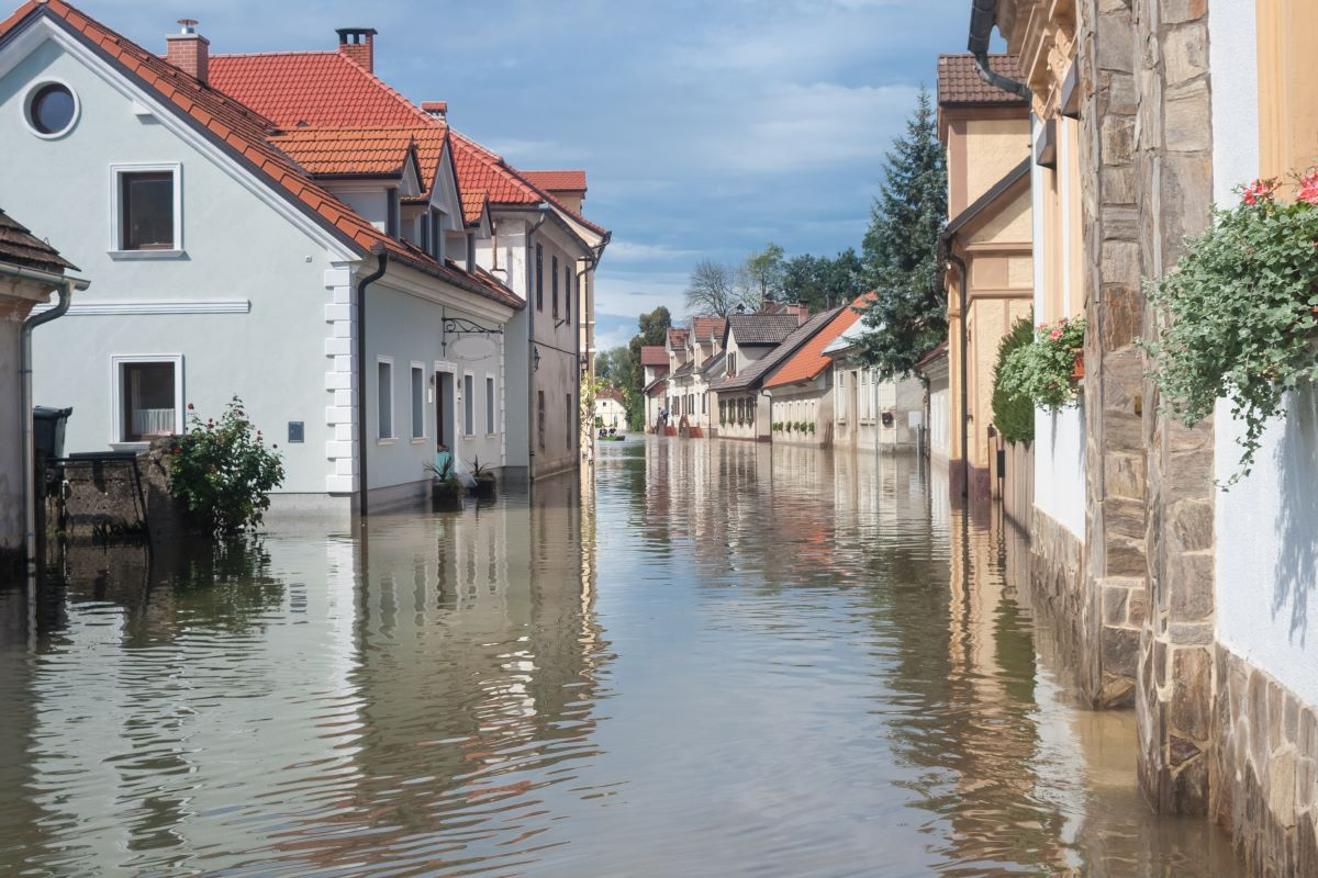 flooded town natural disaster